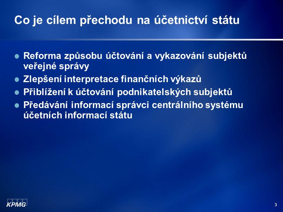 3 Co je cílem přechodu na účetnictví státu Reforma způsobu účtování a vykazování subjektů veřejné správy Zlepšení interpretace finančních výkazů Přiblížení k účtování podnikatelských subjektů Předávání informací správci centrálního systému účetních informací státu
