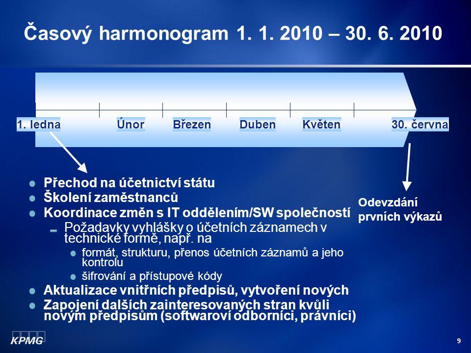 9 Časový harmonogram 1. 1. 2010 – 30. 6. 2010 1.