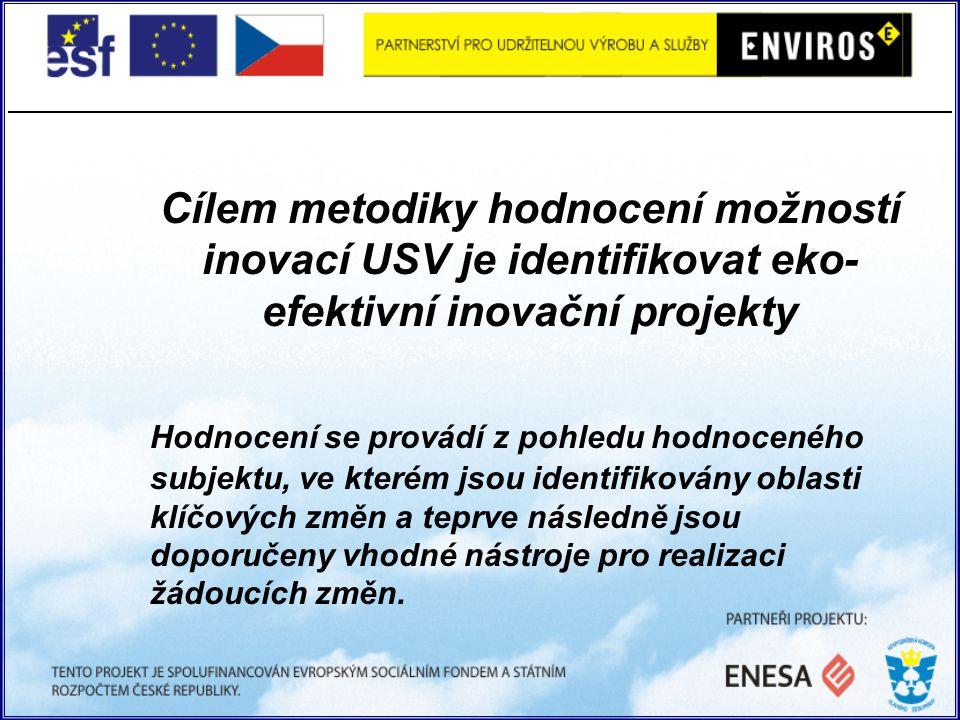 Cílem metodiky hodnocení možností inovací USV je identifikovat eko- efektivní inovační projekty Hodnocení se provádí z pohledu hodnoceného subjektu, ve kterém jsou identifikovány oblasti klíčových změn a teprve následně jsou doporučeny vhodné nástroje pro realizaci žádoucích změn.