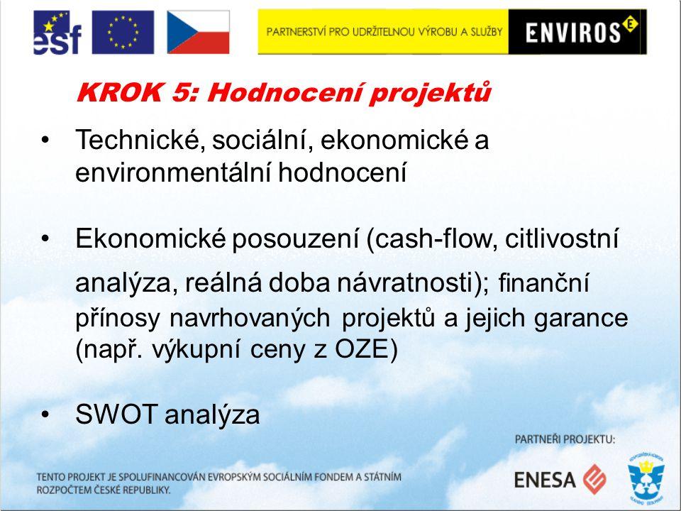 KROK 5: Hodnocení projektů Technické, sociální, ekonomické a environmentální hodnocení Ekonomické posouzení (cash-flow, citlivostní analýza, reálná doba návratnosti); finanční přínosy navrhovaných projektů a jejich garance (např.