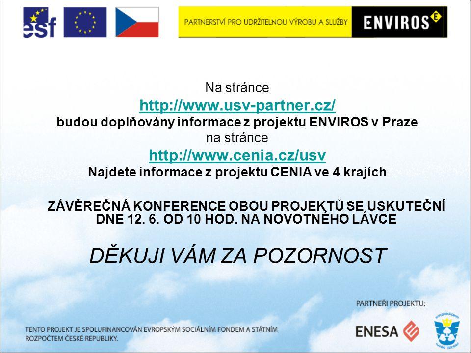 Na stránce http://www.usv-partner.cz/ budou doplňovány informace z projektu ENVIROS v Praze na stránce http://www.cenia.cz/usv Najdete informace z projektu CENIA ve 4 krajích ZÁVĚREČNÁ KONFERENCE OBOU PROJEKTŮ SE USKUTEČNÍ DNE 12.