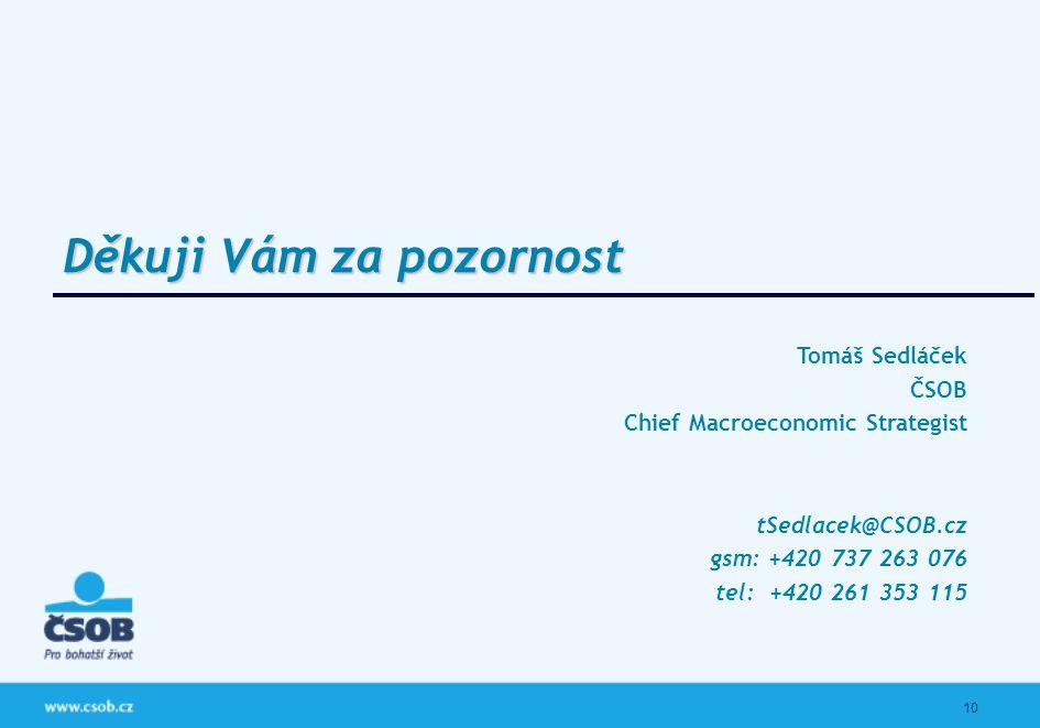 10 Tomáš Sedláček ČSOB Chief Macroeconomic Strategist tSedlacek@CSOB.cz gsm: +420 737 263 076 tel: +420 261 353 115 Děkuji Vám za pozornost