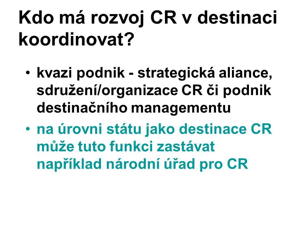Kdo má rozvoj CR v destinaci koordinovat? kvazi podnik - strategická aliance, sdružení/organizace CR či podnik destinačního managementu na úrovni stát