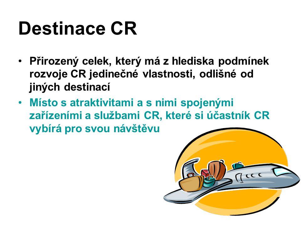 Destinace CR Přirozený celek, který má z hlediska podmínek rozvoje CR jedinečné vlastnosti, odlišné od jiných destinací Místo s atraktivitami a s nimi