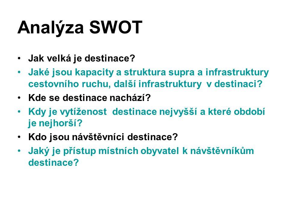 Analýza SWOT Jak velká je destinace? Jaké jsou kapacity a struktura supra a infrastruktury cestovního ruchu, další infrastruktury v destinaci? Kde se