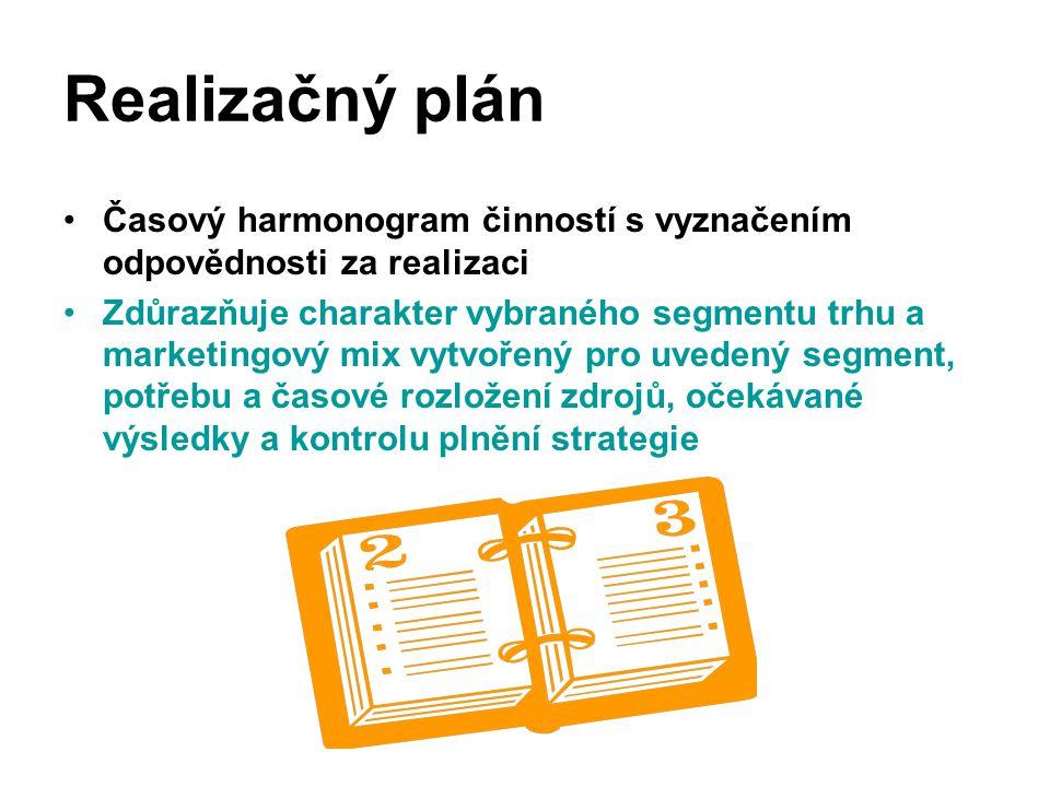 Realizačný plán Časový harmonogram činností s vyznačením odpovědnosti za realizaci Zdůrazňuje charakter vybraného segmentu trhu a marketingový mix vyt