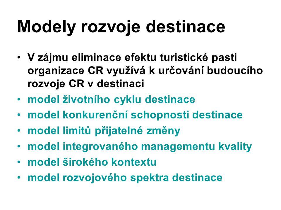 Modely rozvoje destinace V zájmu eliminace efektu turistické pasti organizace CR využívá k určování budoucího rozvoje CR v destinaci model životního c