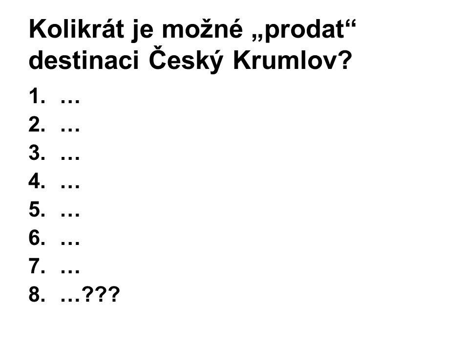 """Kolikrát je možné """"prodat"""" destinaci Český Krumlov? 1.… 2.… 3.… 4.… 5.… 6.… 7.… 8.…???"""