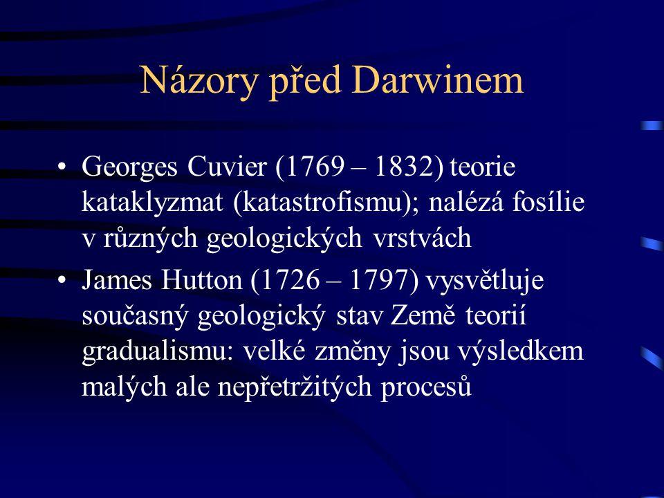 Názory před Darwinem Georges Cuvier (1769 – 1832) teorie kataklyzmat (katastrofismu); nalézá fosílie v různých geologických vrstvách James Hutton (172