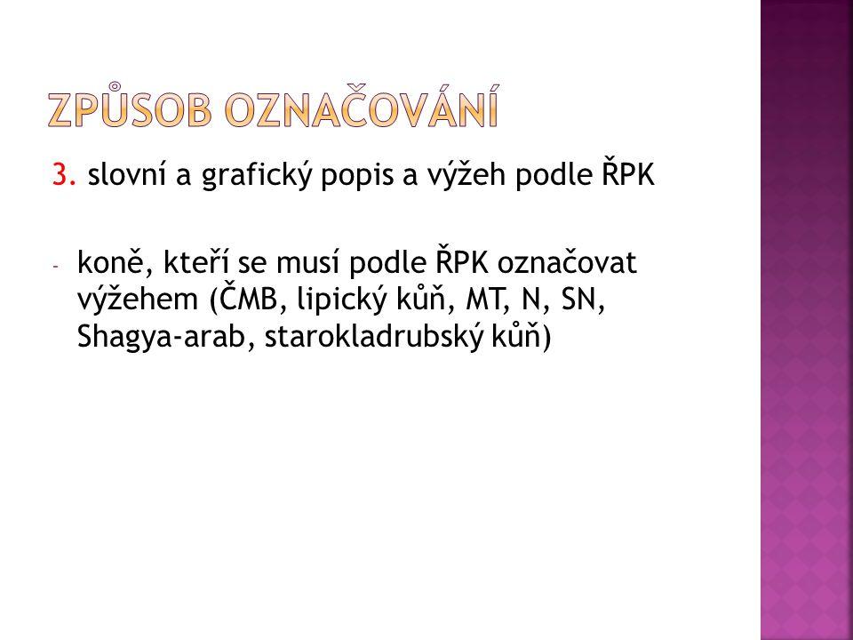 3. slovní a grafický popis a výžeh podle ŘPK - koně, kteří se musí podle ŘPK označovat výžehem (ČMB, lipický kůň, MT, N, SN, Shagya-arab, starokladrub