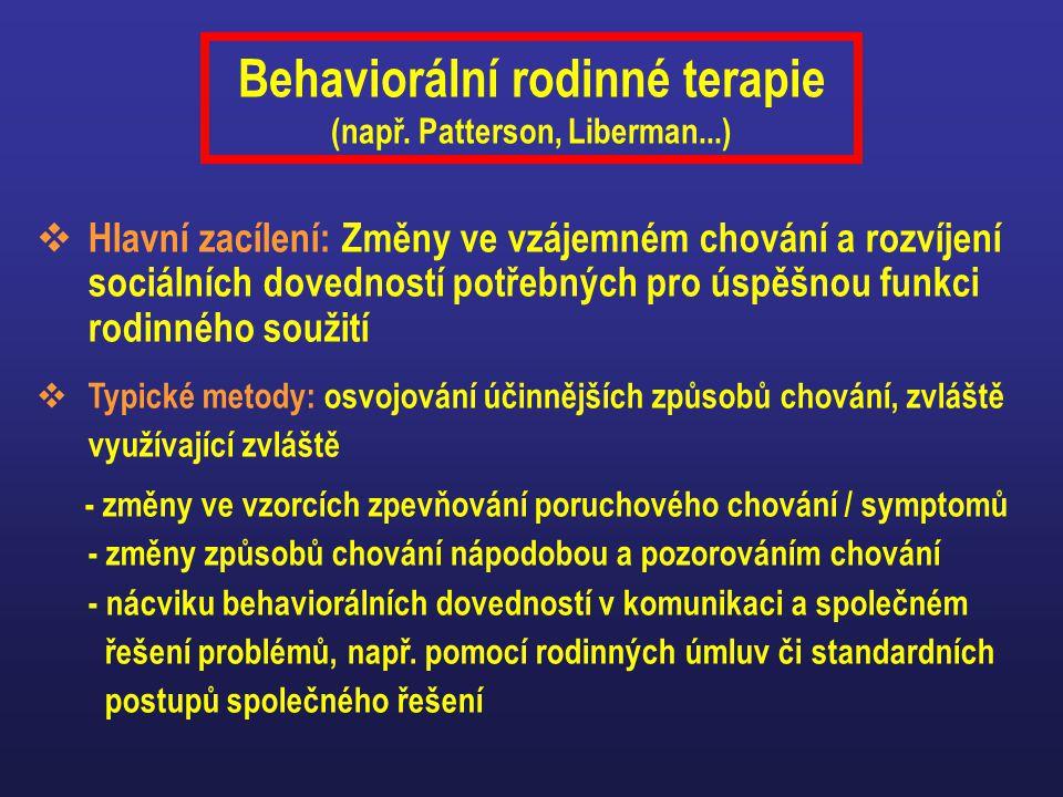 Behaviorální rodinné terapie (např. Patterson, Liberman...)  Hlavní zacílení: Změny ve vzájemném chování a rozvíjení sociálních dovedností potřebných