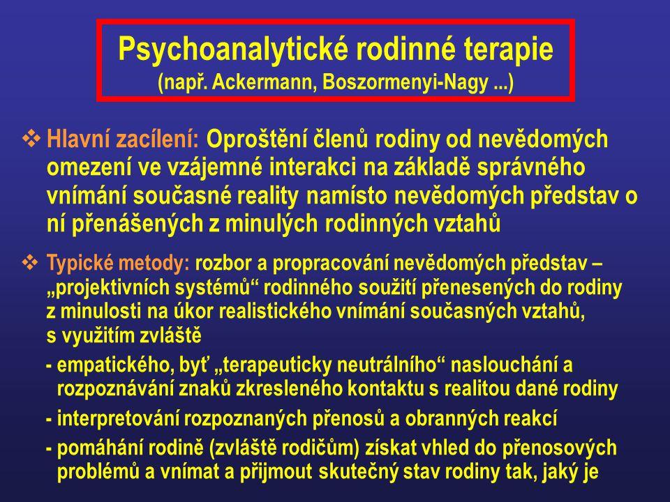 Psychoanalytické rodinné terapie (např. Ackermann, Boszormenyi-Nagy...)  Hlavní zacílení: Oproštění členů rodiny od nevědomých omezení ve vzájemné in
