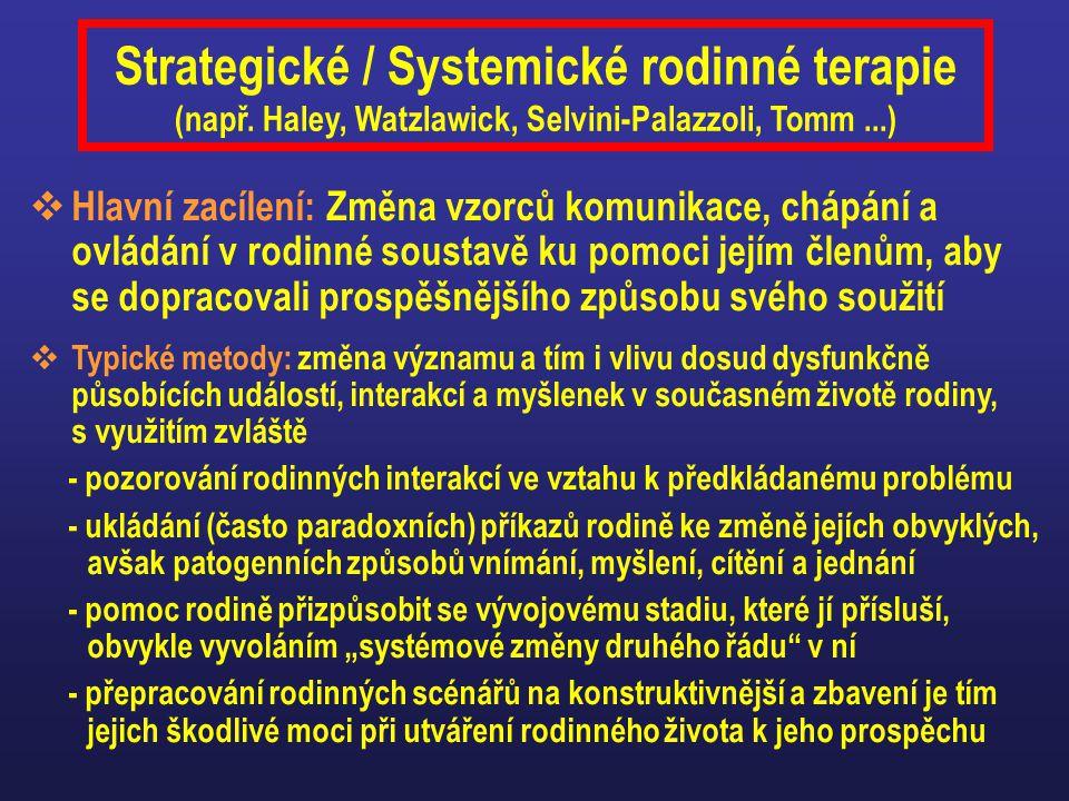 Strategické / Systemické rodinné terapie (např. Haley, Watzlawick, Selvini-Palazzoli, Tomm...)  Hlavní zacílení: Změna vzorců komunikace, chápání a o
