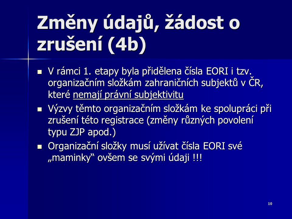 V rámci 1. etapy byla přidělena čísla EORI i tzv. organizačním složkám zahraničních subjektů v ČR, které nemají právní subjektivitu V rámci 1. etapy b