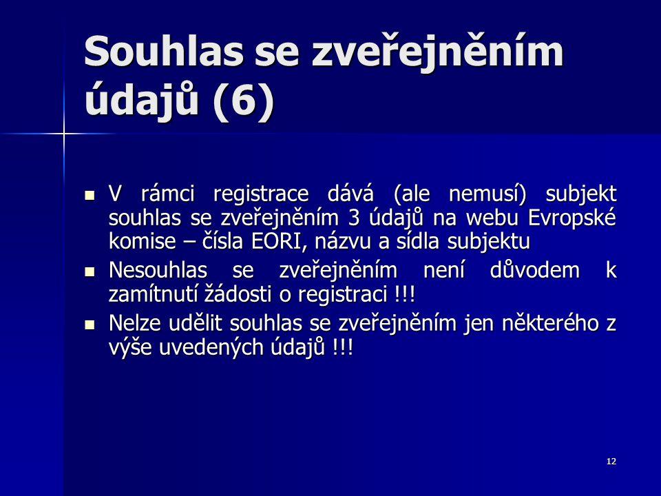 12 Souhlas se zveřejněním údajů (6) V rámci registrace dává (ale nemusí) subjekt souhlas se zveřejněním 3 údajů na webu Evropské komise – čísla EORI,
