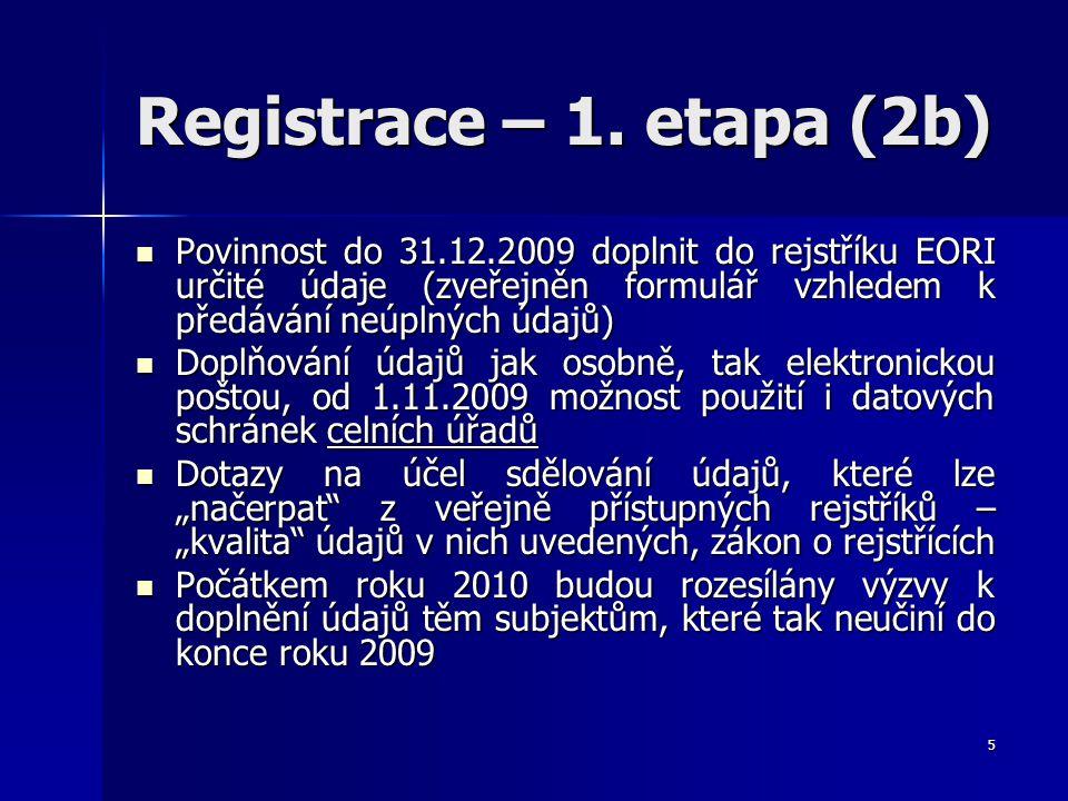 Registrace – 1. etapa (2b) Povinnost do 31.12.2009 doplnit do rejstříku EORI určité údaje (zveřejněn formulář vzhledem k předávání neúplných údajů) Po