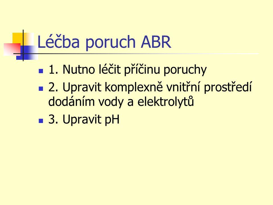 Léčba poruch ABR 1. Nutno léčit příčinu poruchy 2. Upravit komplexně vnitřní prostředí dodáním vody a elektrolytů 3. Upravit pH