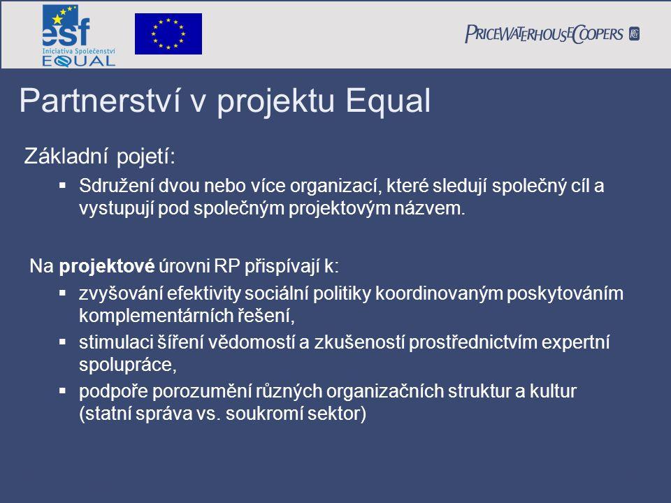 PricewaterhouseCoopers Date Page 13 Partnerství v projektu Equal Základní pojetí:  Sdružení dvou nebo více organizací, které sledují společný cíl a v