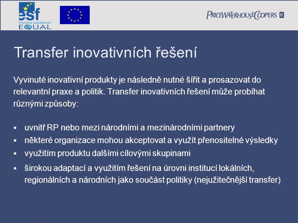 PricewaterhouseCoopers Date Page 30 Vyvinuté inovativní produkty je následně nutné šířit a prosazovat do relevantní praxe a politik. Transfer inovativ