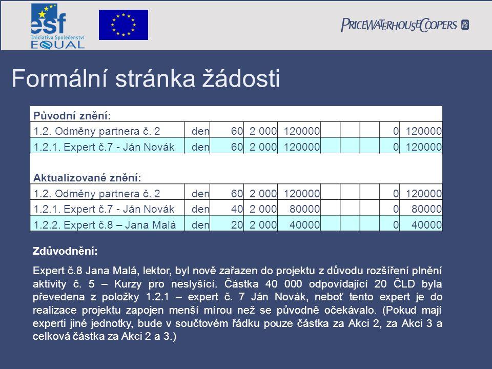 Formální stránka žádosti Zdůvodnění: Expert č.8 Jana Malá, lektor, byl nově zařazen do projektu z důvodu rozšíření plnění aktivity č. 5 – Kurzy pro ne