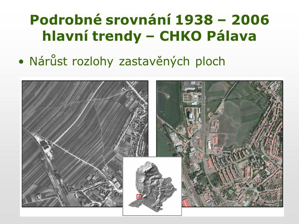 Podrobné srovnání 1938 – 2006 hlavní trendy – CHKO Pálava Nárůst rozlohy zastavěných ploch