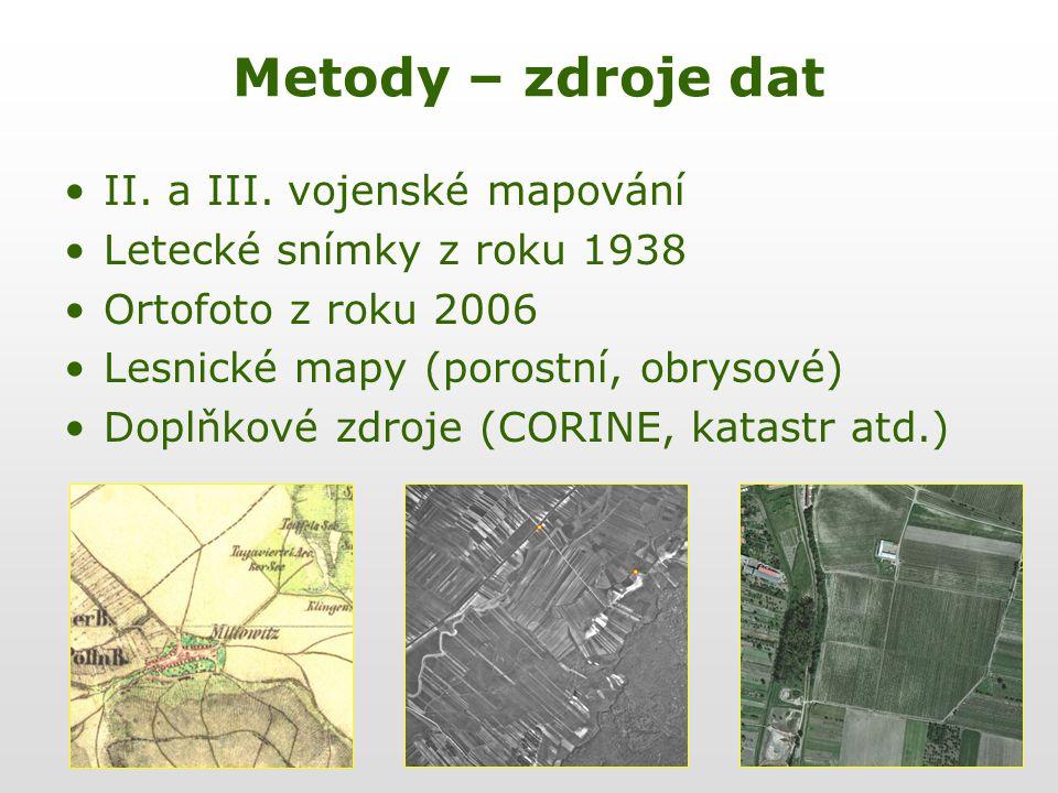 Metody – zdroje dat II. a III. vojenské mapování Letecké snímky z roku 1938 Ortofoto z roku 2006 Lesnické mapy (porostní, obrysové) Doplňkové zdroje (