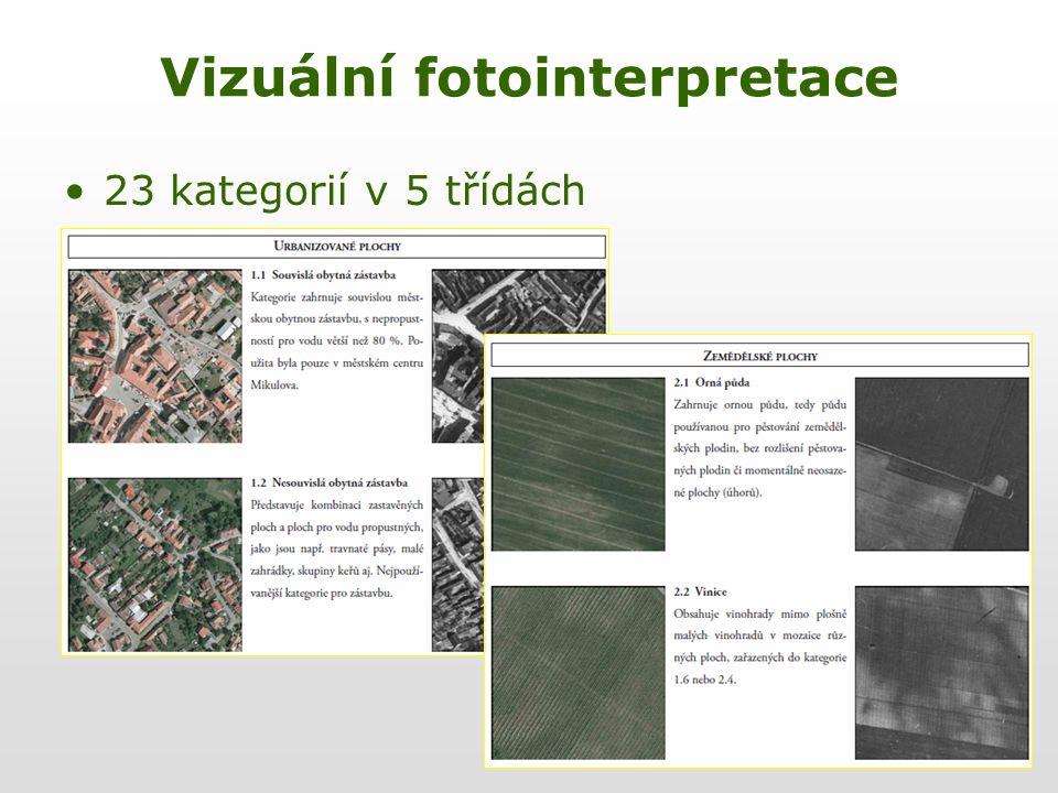 Vizuální fotointerpretace 23 kategorií v 5 třídách