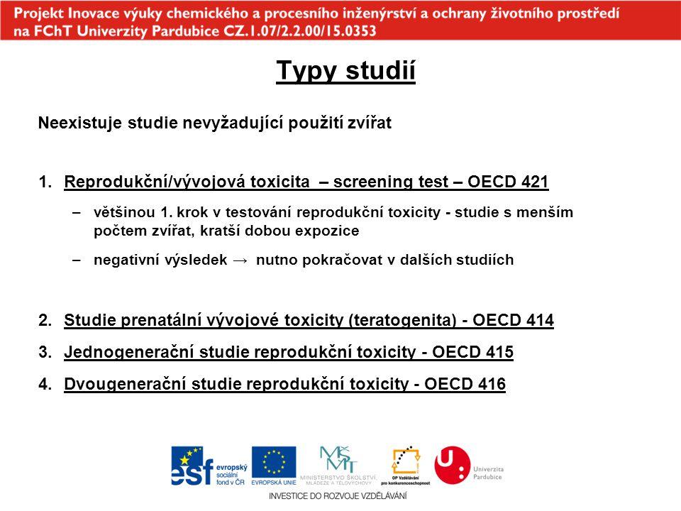 Typy studií Neexistuje studie nevyžadující použití zvířat 1.Reprodukční/vývojová toxicita – screening test – OECD 421 –většinou 1. krok v testování re