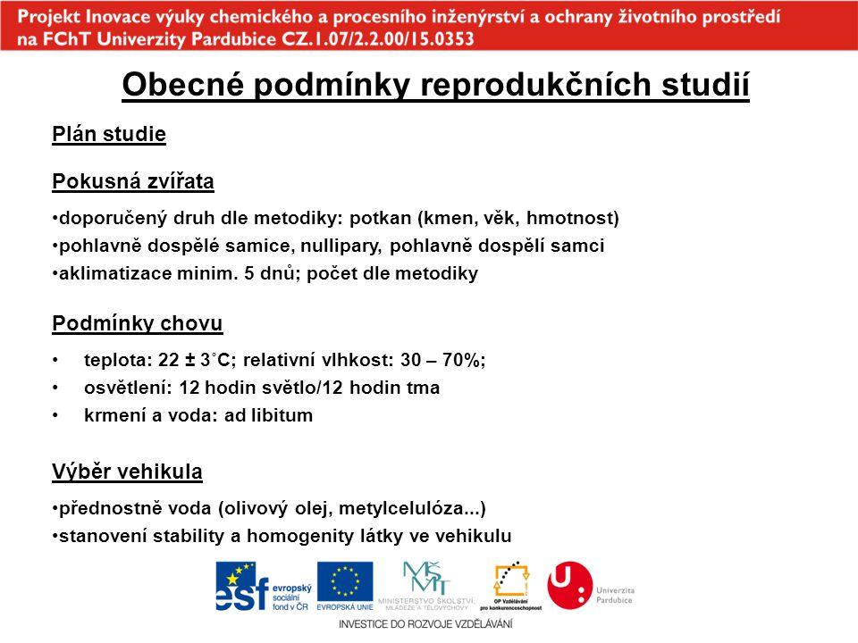 Obecné podmínky reprodukčních studií Plán studie Pokusná zvířata doporučený druh dle metodiky: potkan (kmen, věk, hmotnost) pohlavně dospělé samice, n