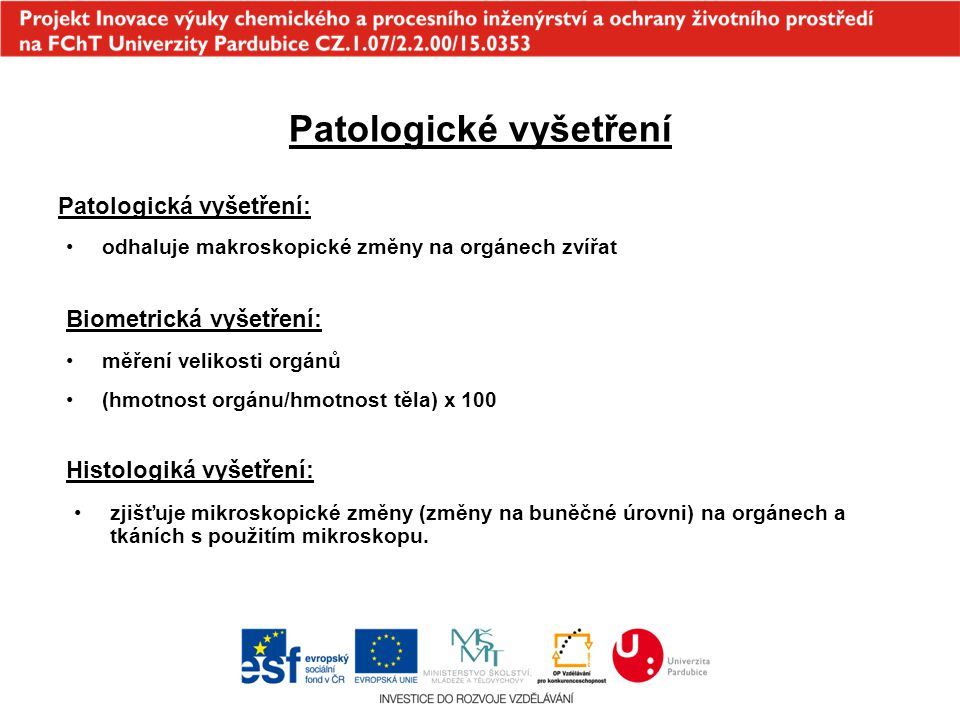 Patologické vyšetření Patologická vyšetření: odhaluje makroskopické změny na orgánech zvířat Biometrická vyšetření: měření velikosti orgánů (hmotnost