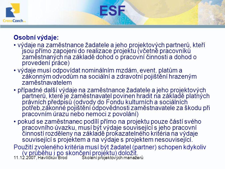 11.12.2007, Havlíčkův BrodŠkolení projektových manažerů ERDF Kontroly Použití poskytnuté dotace včetně plnění závazných údajů a ukazatelů projektu podléhá kontrole ze strany MMR a dalších kontrolních orgánů státní správy a kontrolních orgánů Evropské unie.