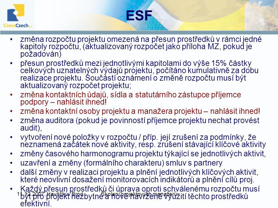 11.12.2007, Havlíčkův BrodŠkolení projektových manažerů ESF změna rozpočtu projektu omezená na přesun prostředků v rámci jedné kapitoly rozpočtu, (aktualizovaný rozpočet jako příloha MZ, pokud je požadován) přesun prostředků mezi jednotlivými kapitolami do výše 15% částky celkových uznatelných výdajů projektu, počítáno kumulativně za dobu realizace projektu.