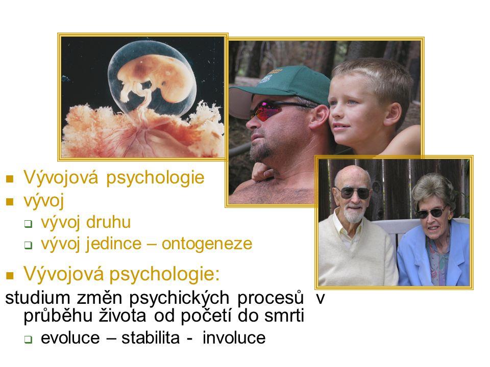 Vývojová psychologie vývoj  vývoj druhu  vývoj jedince – ontogeneze Vývojová psychologie: studium změn psychických procesů v průběhu života od početí do smrti  evoluce – stabilita - involuce