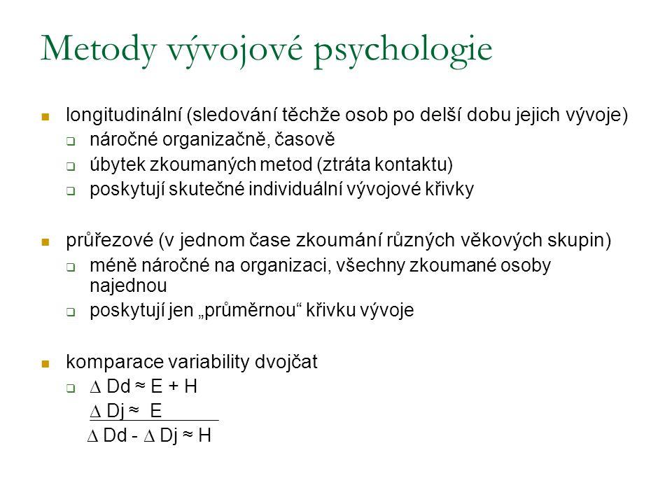 """Metody vývojové psychologie longitudinální (sledování těchže osob po delší dobu jejich vývoje)  náročné organizačně, časově  úbytek zkoumaných metod (ztráta kontaktu)  poskytují skutečné individuální vývojové křivky průřezové (v jednom čase zkoumání různých věkových skupin)  méně náročné na organizaci, všechny zkoumané osoby najednou  poskytují jen """"průměrnou křivku vývoje komparace variability dvojčat   Dd ≈ E + H  Dj ≈ E  Dd -  Dj ≈ H"""