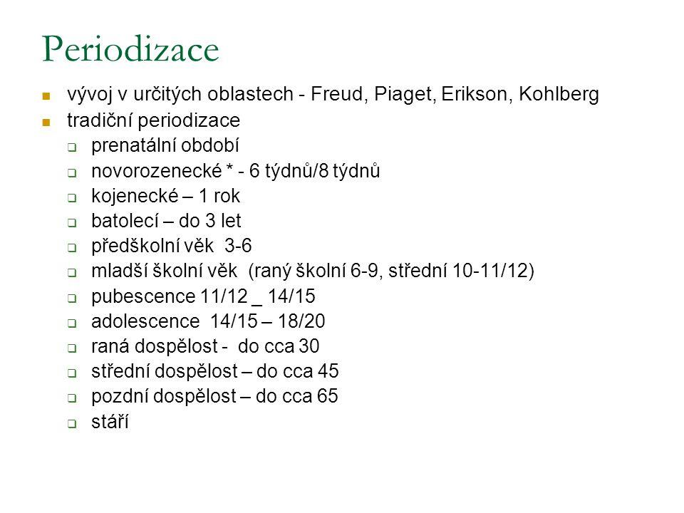 Periodizace vývoj v určitých oblastech - Freud, Piaget, Erikson, Kohlberg tradiční periodizace  prenatální období  novorozenecké * - 6 týdnů/8 týdnů  kojenecké – 1 rok  batolecí – do 3 let  předškolní věk 3-6  mladší školní věk (raný školní 6-9, střední 10-11/12)  pubescence 11/12 _ 14/15  adolescence 14/15 – 18/20  raná dospělost - do cca 30  střední dospělost – do cca 45  pozdní dospělost – do cca 65  stáří