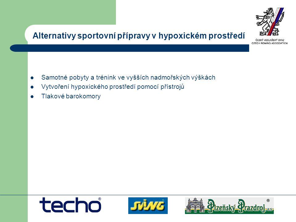 Alternativy sportovní přípravy v hypoxickém prostředí Samotné pobyty a trénink ve vyšších nadmořských výškách Vytvoření hypoxického prostředí pomocí p