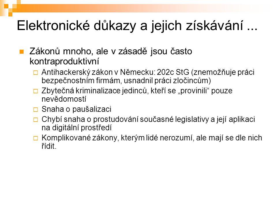 Elektronické důkazy a jejich získávání...