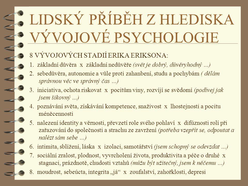 LIDSKÝ PŘÍBĚH Z HLEDISKA VÝVOJOVÉ PSYCHOLOGIE 8 VÝVOJOVÝCH STADIÍ ERIKA ERIKSONA: 1. základní důvěra x základní nedůvěře (svět je dobrý, důvěryhodný …