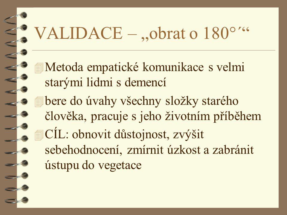 NAOMI FEIL 4 * 1932 v Mnichově 4 Vyrůstala v domově pro seniory v Clevelandu (Ohio, USA), kde pracovali její rodiče 4 Studium sociální práce na Columbia University v New Yorku 4 Po studiu začala pracovat se seniory v ústavních zařízeních 4 1963 - 1980 - nespokojenost s dosavadní praxí v práci se seniory s demencí - formuluje validační teorii 4 1982 - první kniha Validation : the Fail Method (revidována 1992) 4 1993 - druhá kniha: The Validation Breakthrough (revidována 2002) 4 výkonná ředitelka Validation Training Institute 4 přednáší v Americe, Evropě, pořádá workshopy