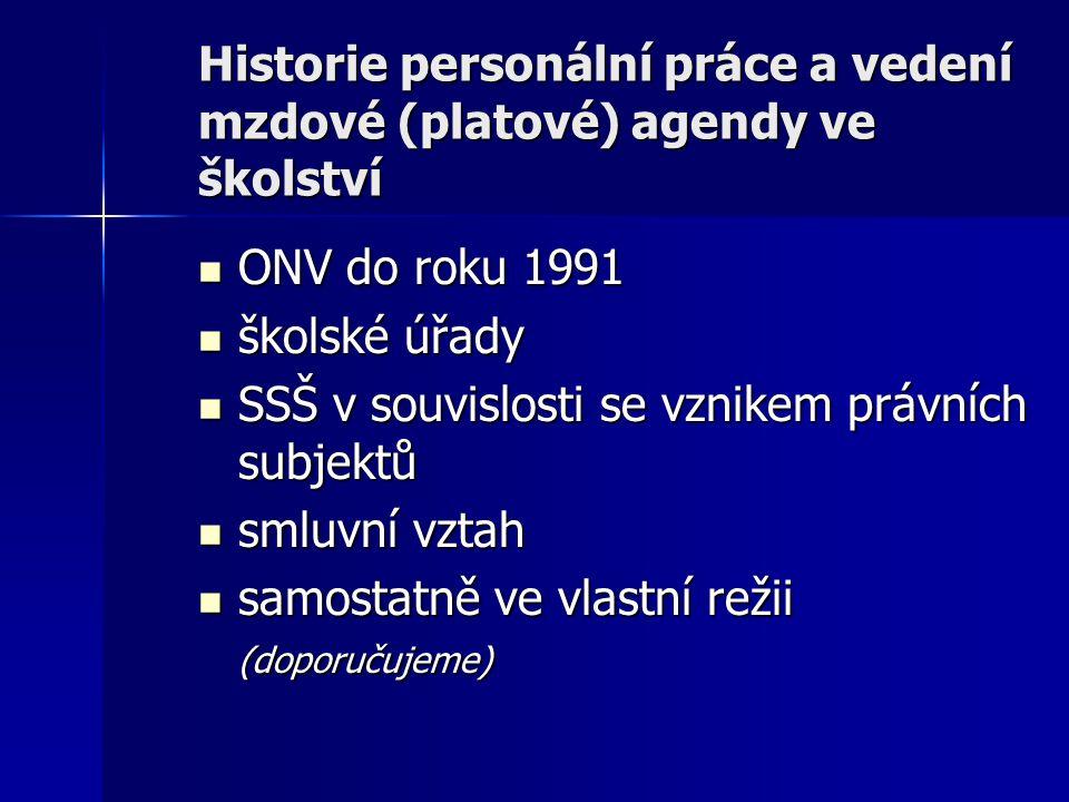 Historie personální práce a vedení mzdové (platové) agendy ve školství ONV do roku 1991 ONV do roku 1991 školské úřady školské úřady SSŠ v souvislosti