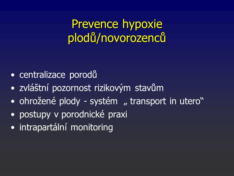"""Prevence hypoxie plodů/novorozenců centralizace porodů zvláštní pozornost rizikovým stavům ohrožené plody - systém """" transport in utero postupy v porodnické praxi intrapartální monitoring"""
