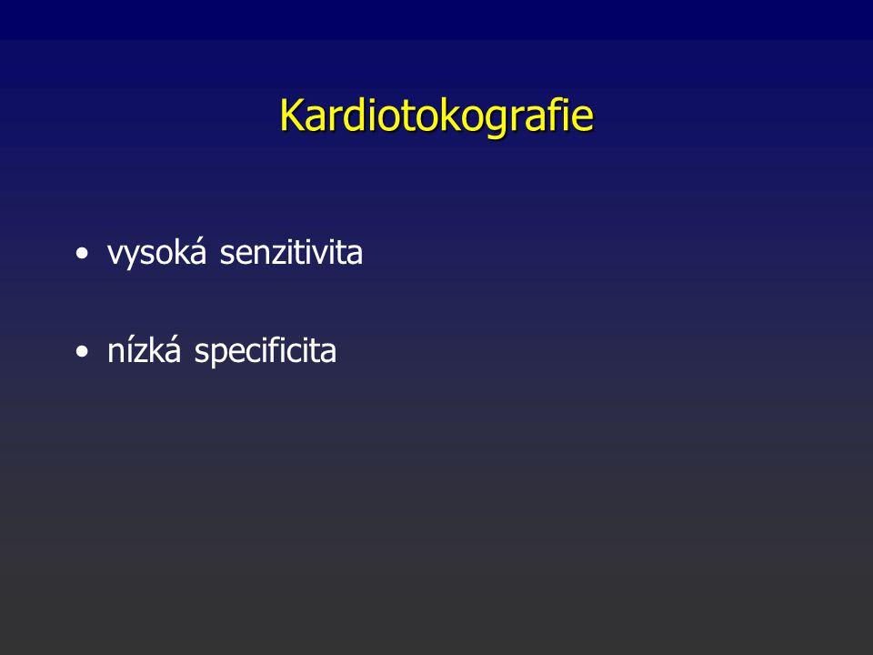 Kardiotokografie vysoká senzitivita nízká specificita