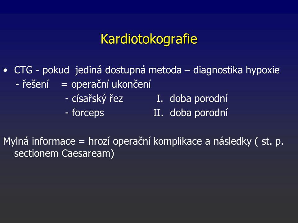 Kardiotokografie CTG - pokud jediná dostupná metoda – diagnostika hypoxie - řešení = operační ukončení - císařský řez I. doba porodní - forceps II. do