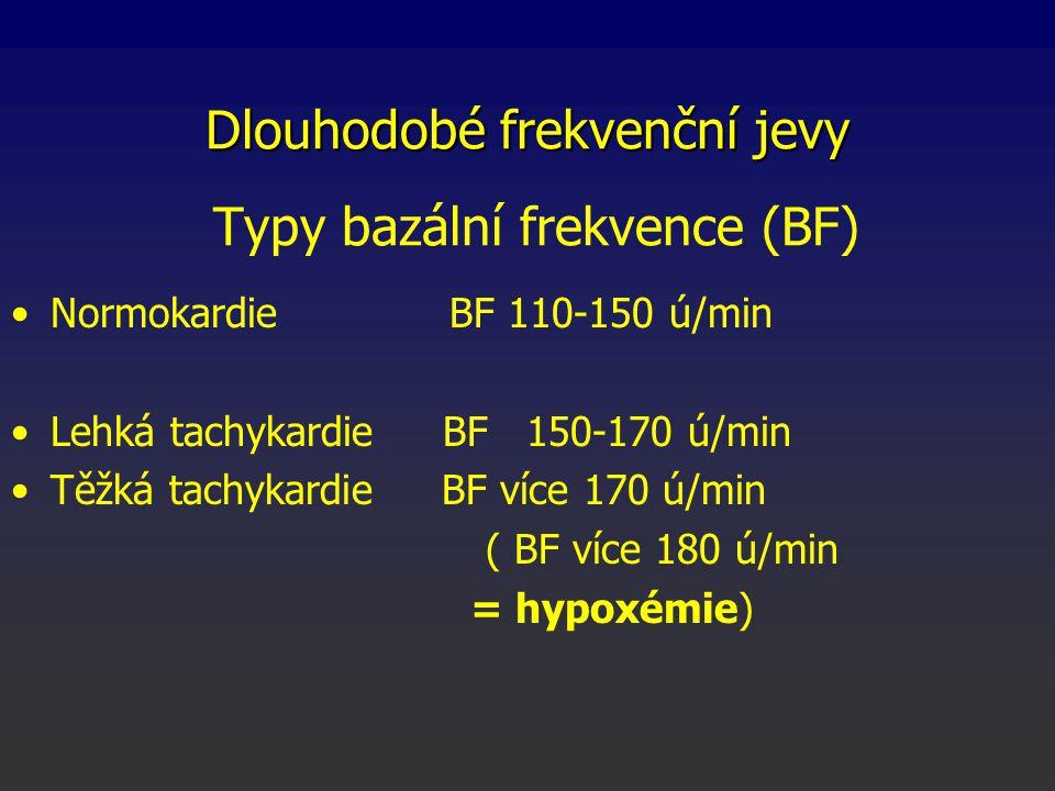 Normokardie BF 110-150 ú/min Lehká tachykardie BF 150-170 ú/min Těžká tachykardie BF více 170 ú/min ( BF více 180 ú/min = hypoxémie) Typy bazální frekvence (BF) Dlouhodobé frekvenční jevy
