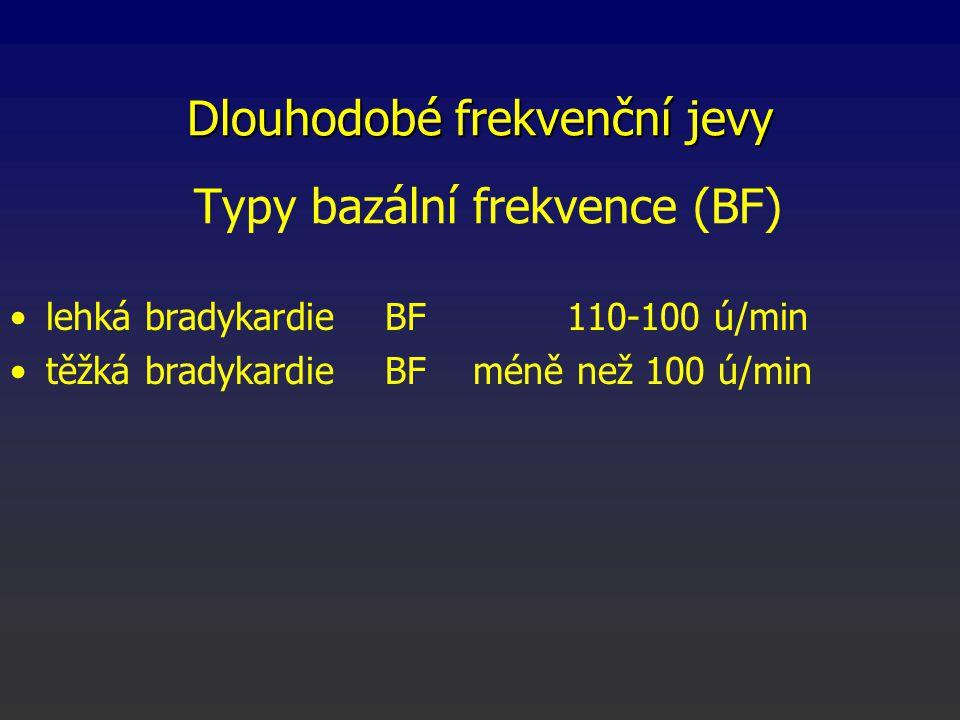 lehká bradykardie BF 110-100 ú/min těžká bradykardie BF méně než 100 ú/min Dlouhodobé frekvenční jevy Typy bazální frekvence (BF)