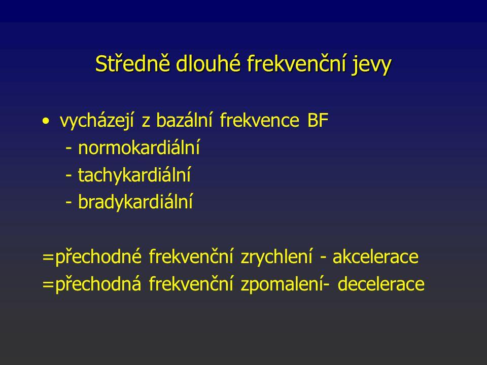 Středně dlouhé frekvenční jevy vycházejí z bazální frekvence BF - normokardiální - tachykardiální - bradykardiální =přechodné frekvenční zrychlení - a
