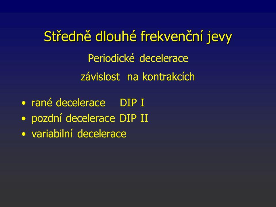 Periodické decelerace závislost na kontrakcích rané decelerace DIP I pozdní decelerace DIP II variabilní decelerace Středně dlouhé frekvenční jevy