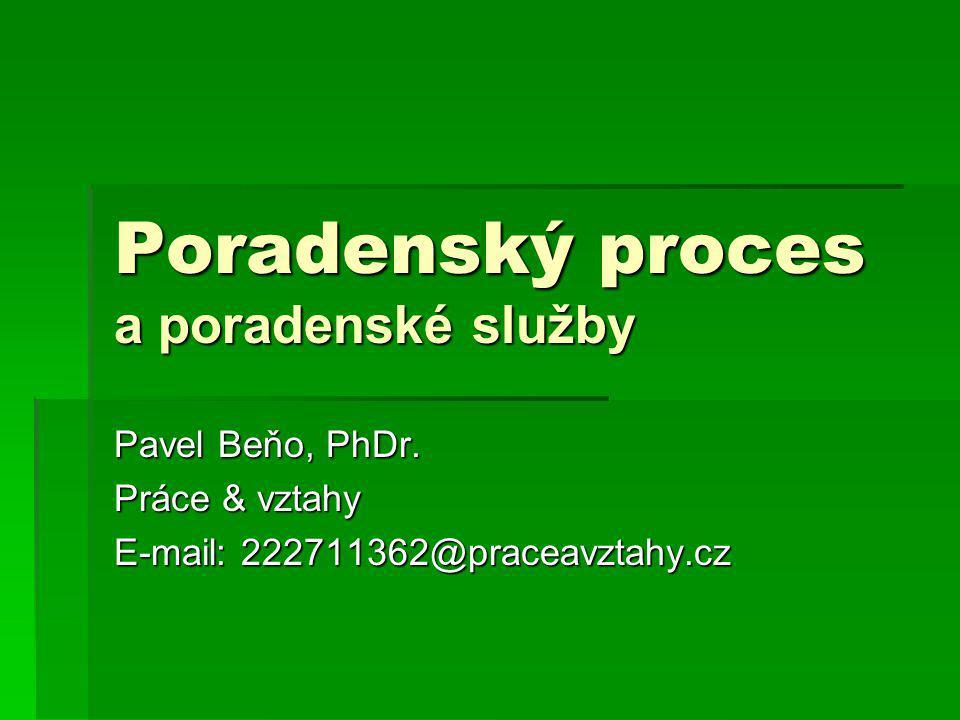 Poradenský proces a poradenské služby Pavel Beňo, PhDr. Práce & vztahy E-mail: 222711362@praceavztahy.cz