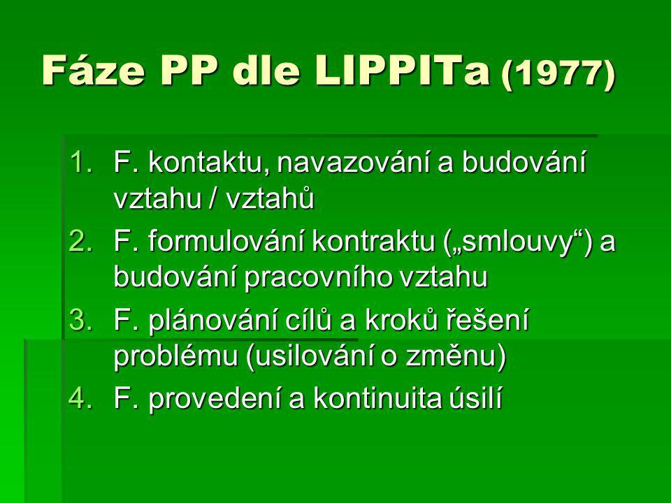 """Fáze PP dle LIPPITa (1977) 1.F. kontaktu, navazování a budování vztahu / vztahů 2.F. formulování kontraktu (""""smlouvy"""") a budování pracovního vztahu 3."""