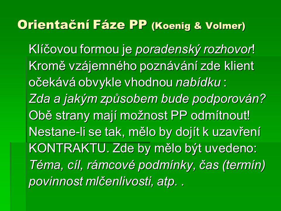 Orientační Fáze PP (Koenig & Volmer) Klíčovou formou je poradenský rozhovor! Kromě vzájemného poznávání zde klient očekává obvykle vhodnou nabídku : Z